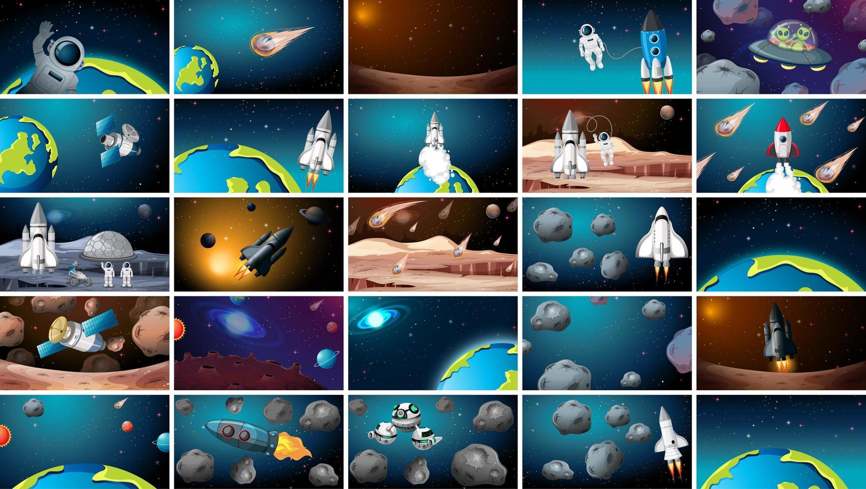 Grand ensemble de scènes spatiales vecteur