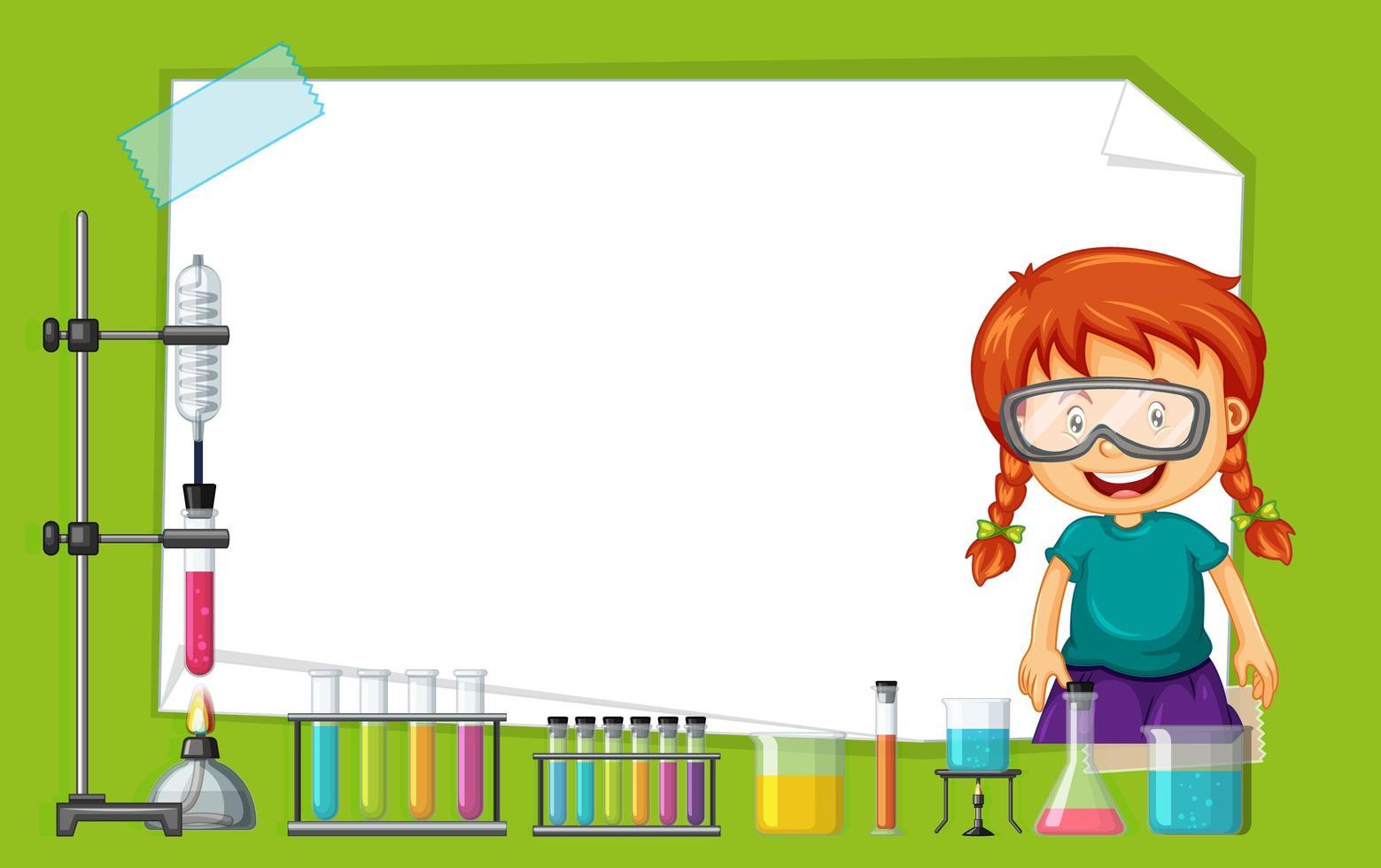 Plantilla de marco con chica haciendo experimento vector