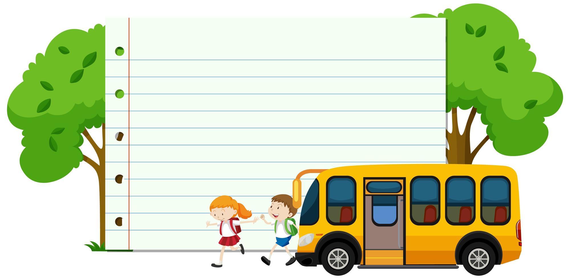 Plantilla de marco con niños en edad escolar vector