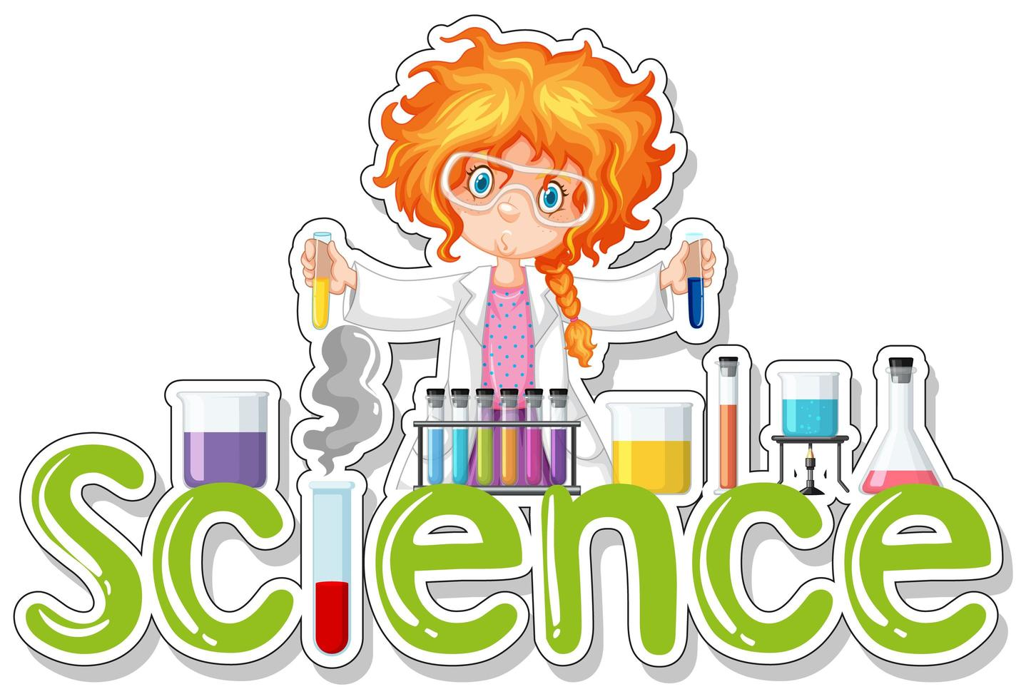 Science Word Design with Female Student vector