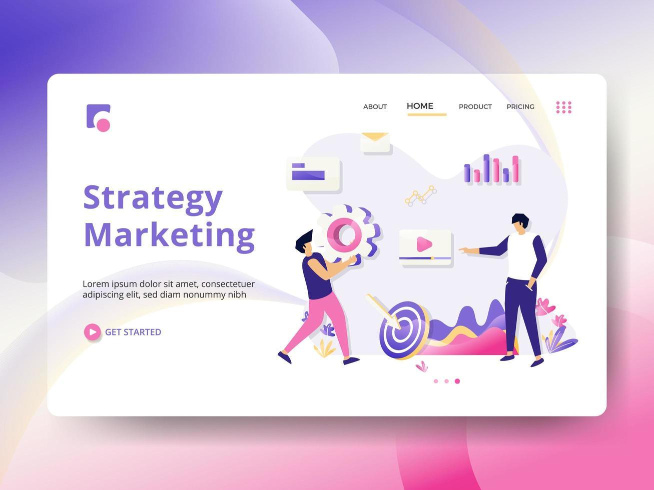 Página de aterrizaje de marketing estratégico vector