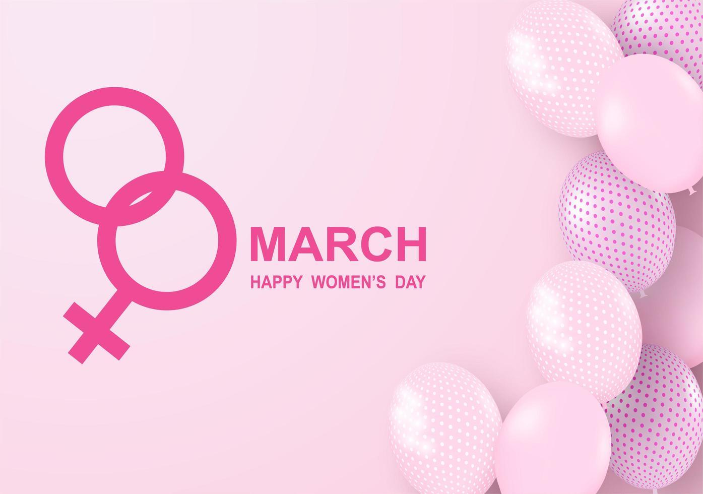 Design per la festa della donna con palloncini rosa e simbolo femminile vettore
