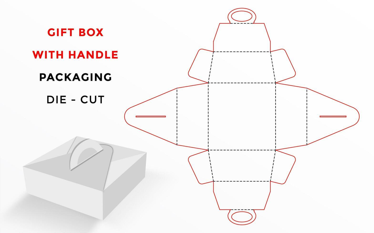 Plantilla troquelada para caja de regalo con asa vector