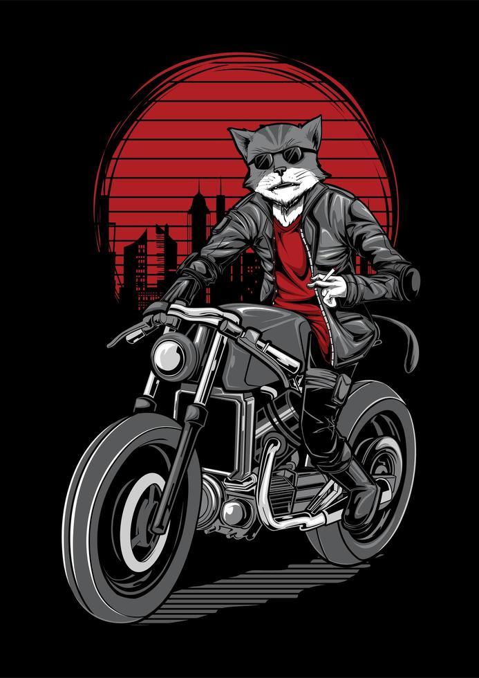 Cat Motorbike Rider Illustration vector