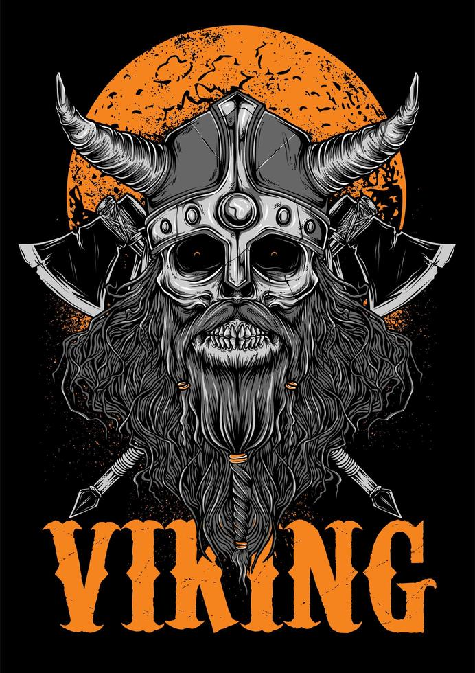 Viking  Zombie Illustration with Moon vector