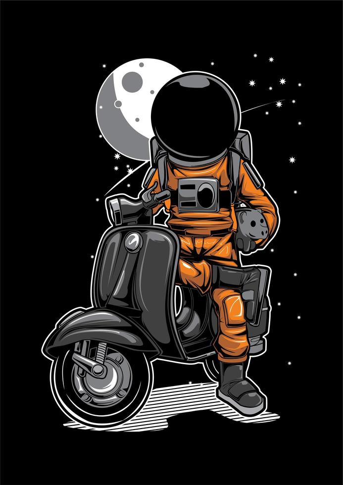 Astronaut on Scooter vector