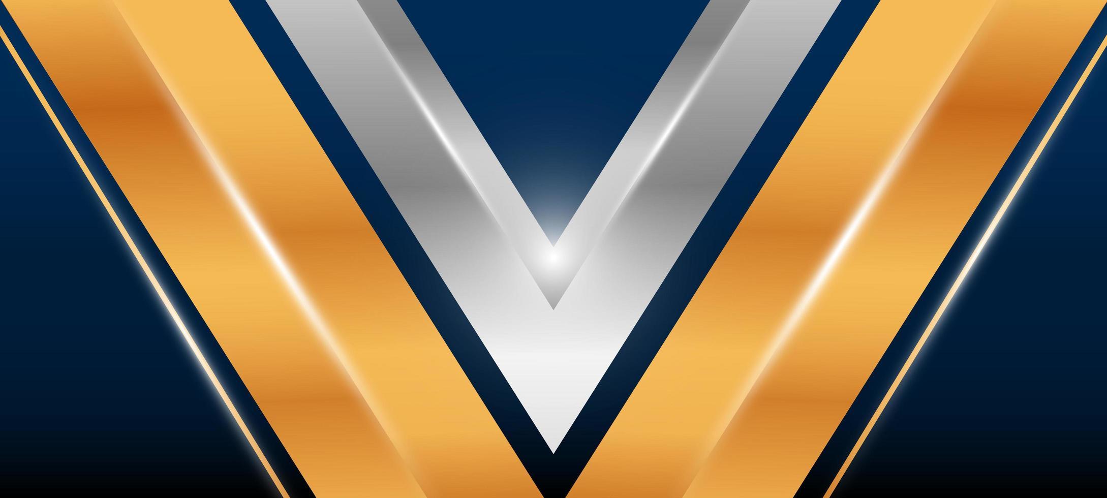 Elegant gold and silver V shape background  vector
