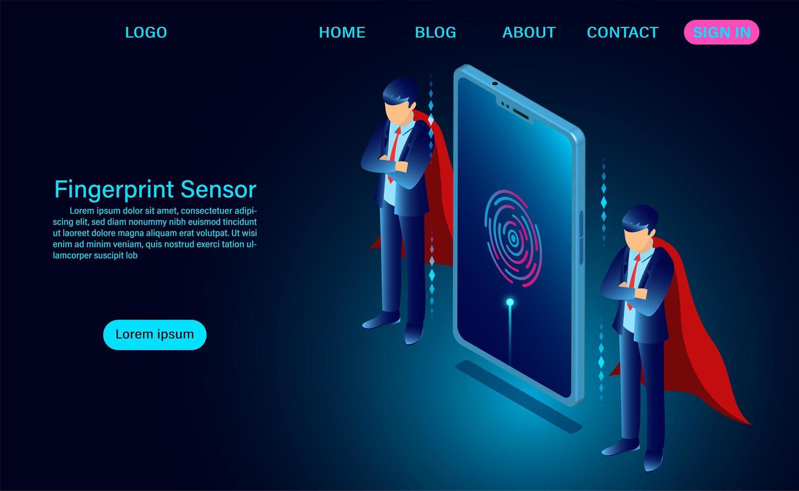 Accedi al sensore di impronte digitali sullo schermo del telefono in stile isometrico vettore