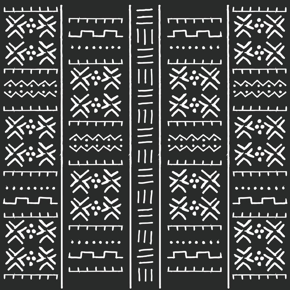 Svartvita stam etniska mönster med geometriska element vektor