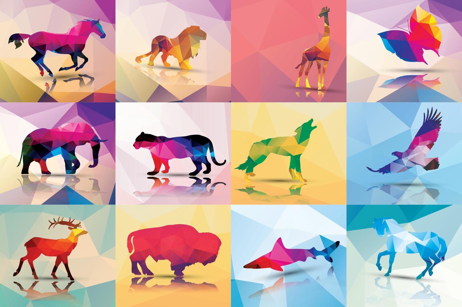 Coleção de animais de polígono geométrico vetor