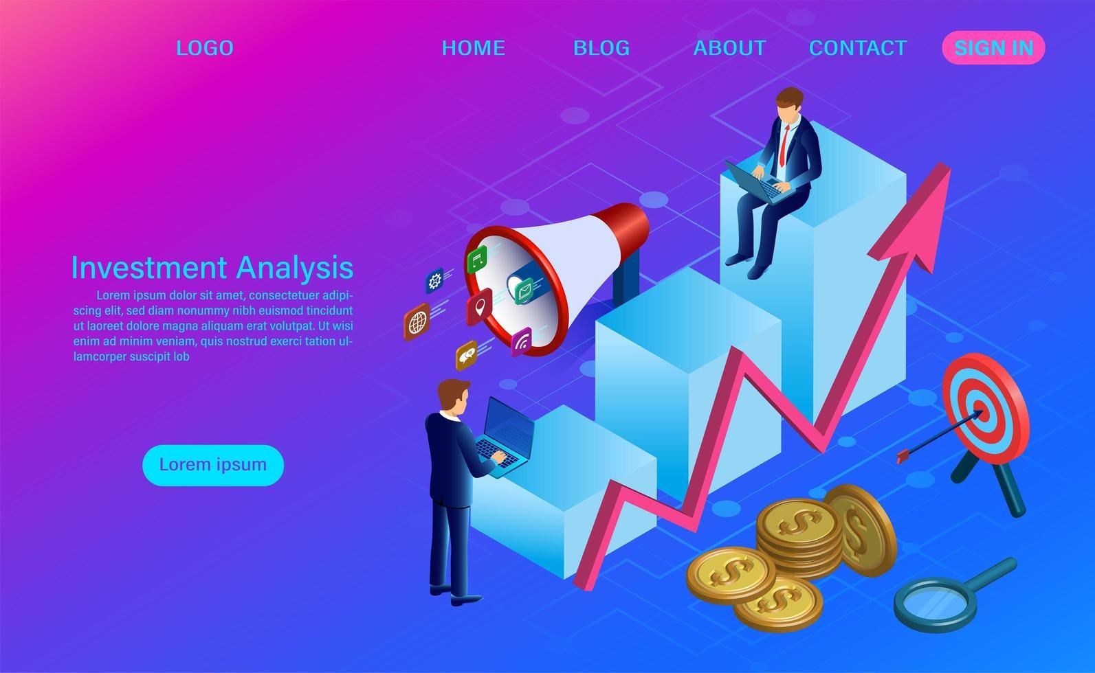 Conceito de análise de investimento em gradiente de rosa e azul vetor