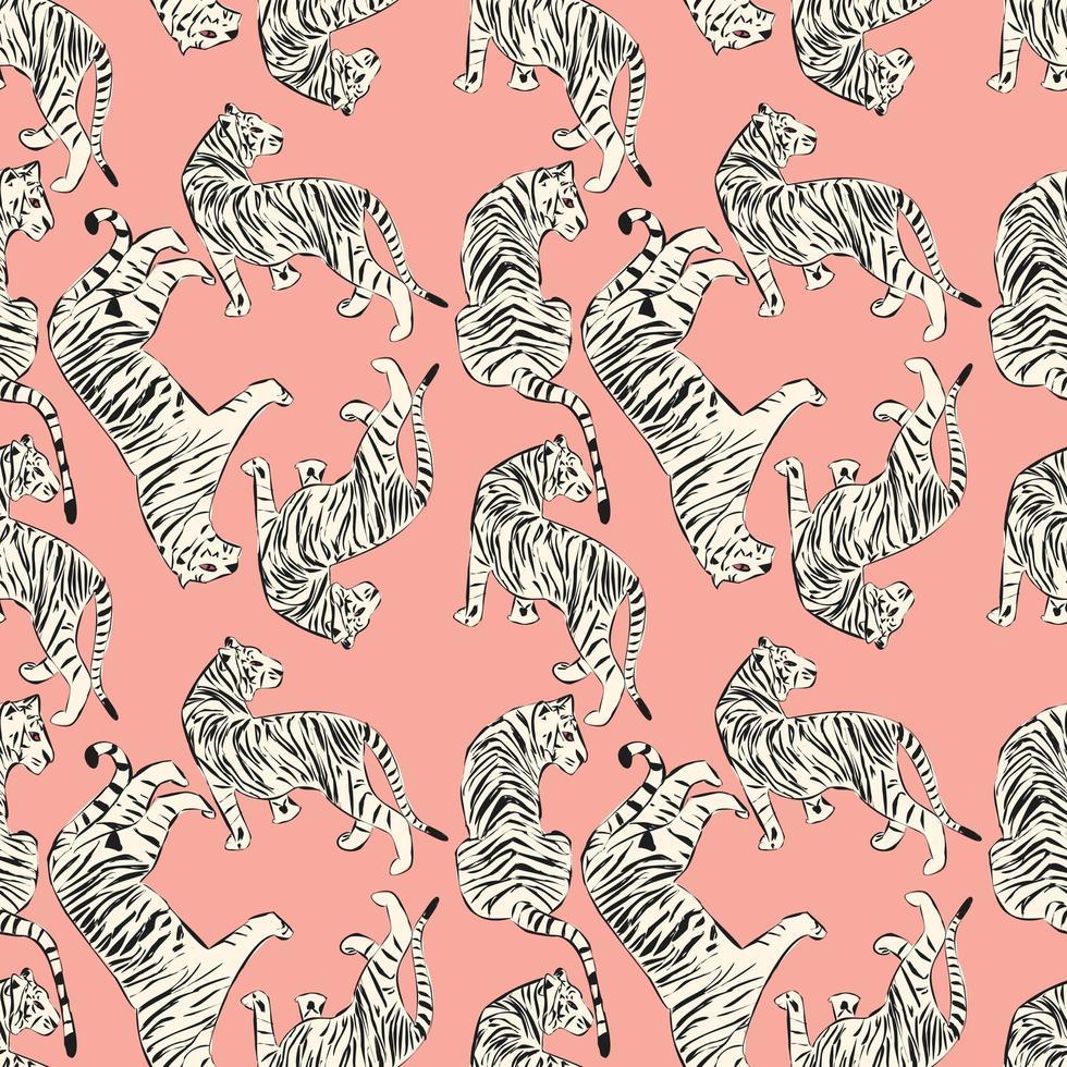 Hand drawn tiger seamless pattern vector