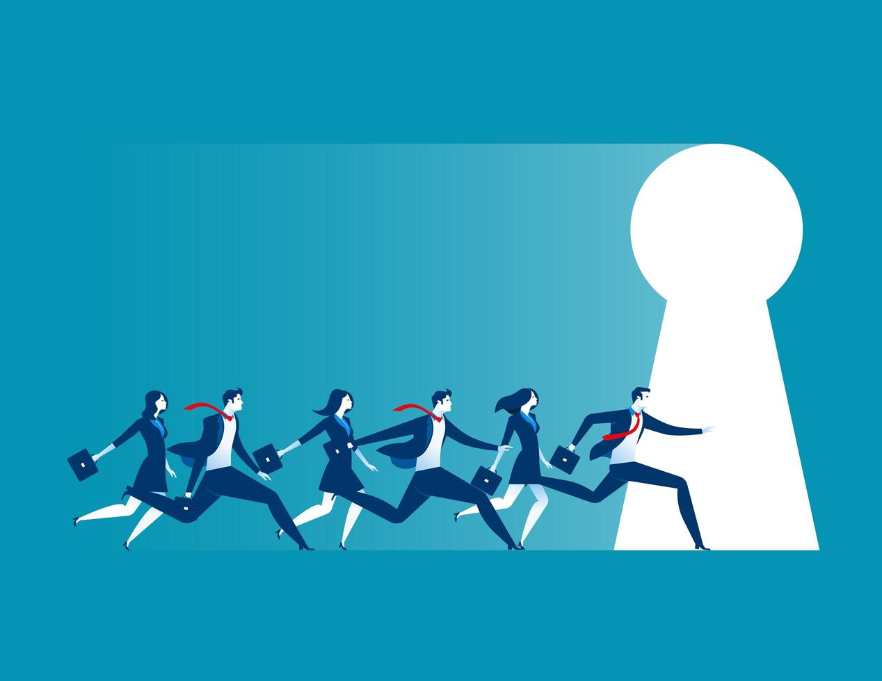 Businesspeople Running to Keyhole vector