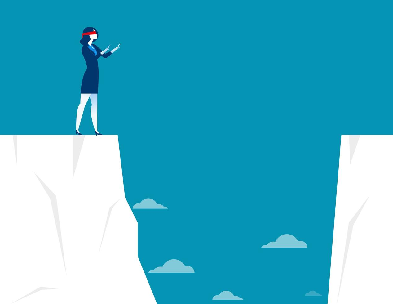 Businesswoman Blindfolded on Cliff vector