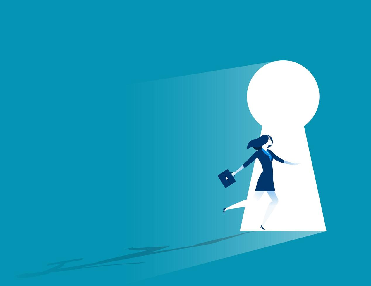 Businesswoman Running Through Keyhole. vector