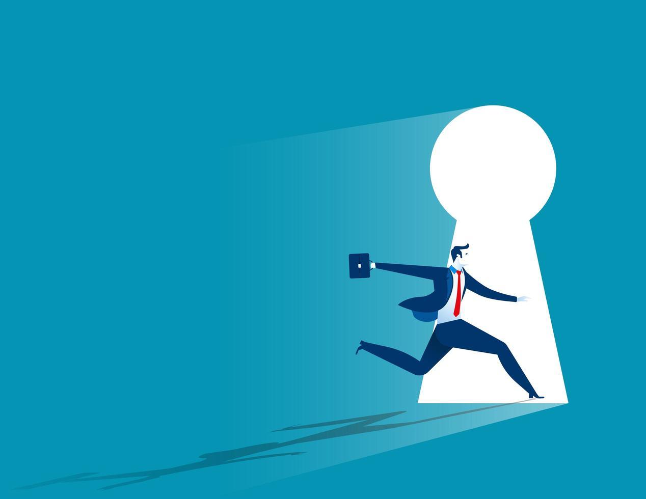 Businessman Running Through Keyhole vector