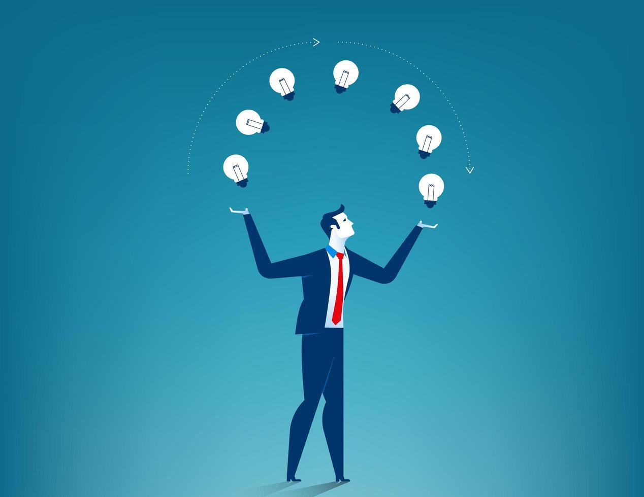 Businessman Holding Lightbulbs  vector