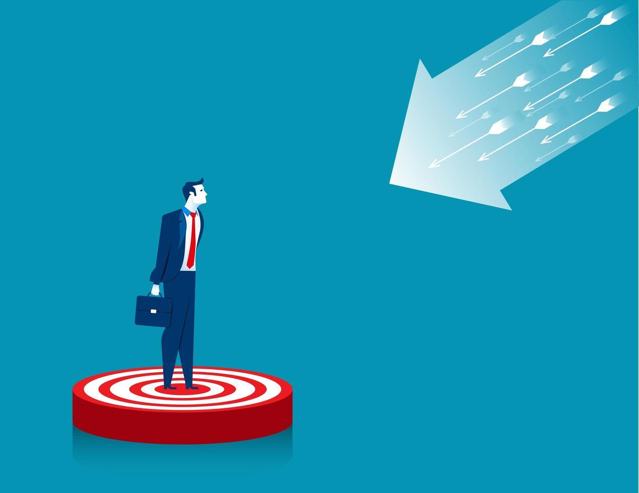 Businessman Standing on Target vector