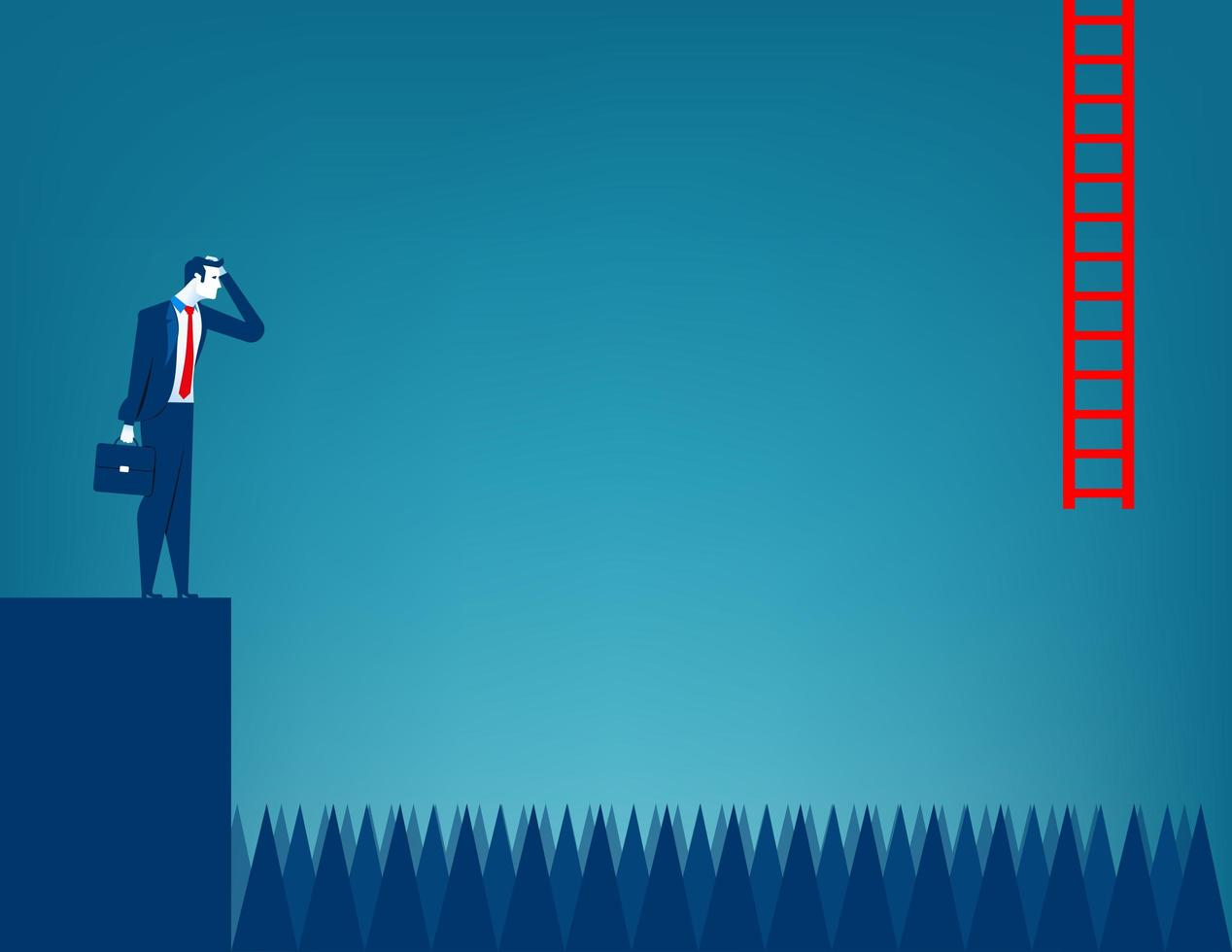 Businessman Facing Obstacle. vector