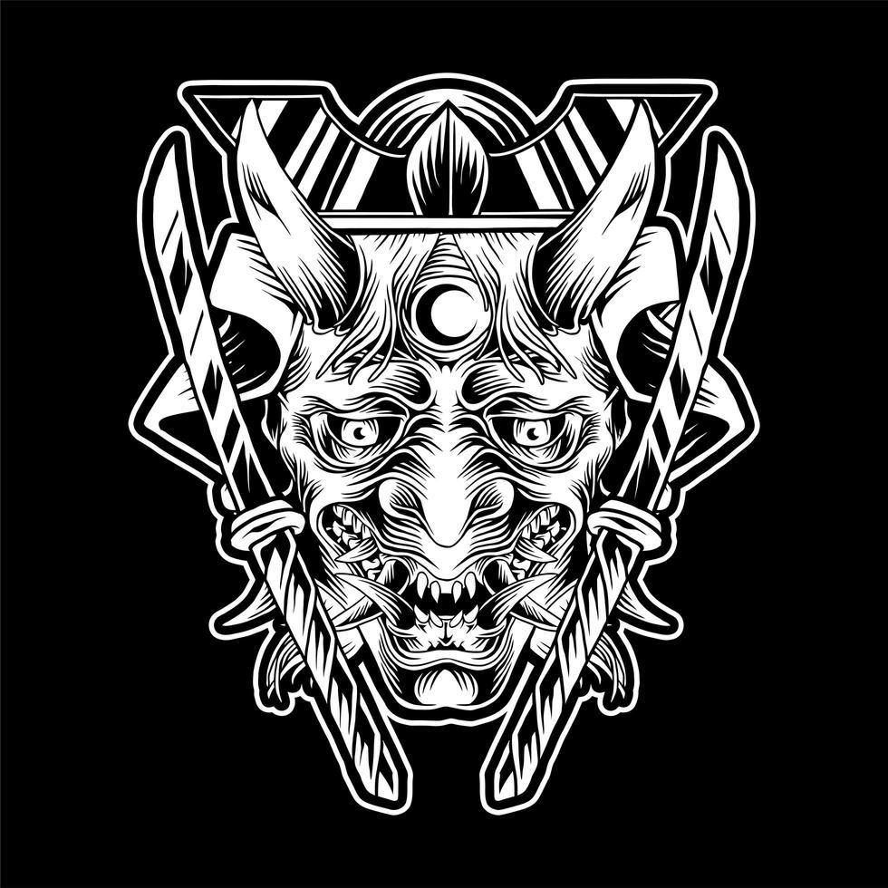 Illustrazione maschera Oni vettore