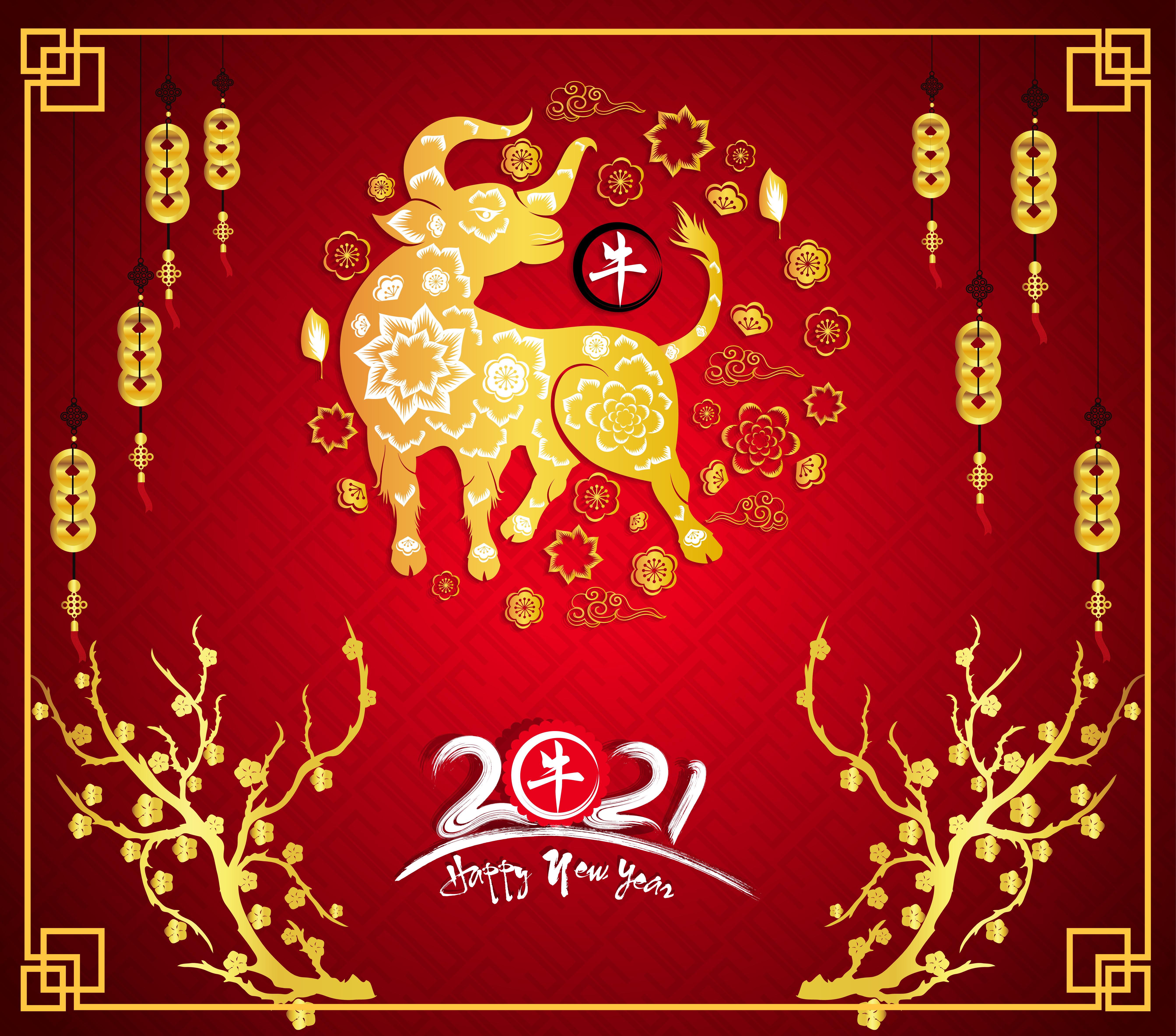 Golden Chinese New Year 2021 Poster with Ox and Frame ...