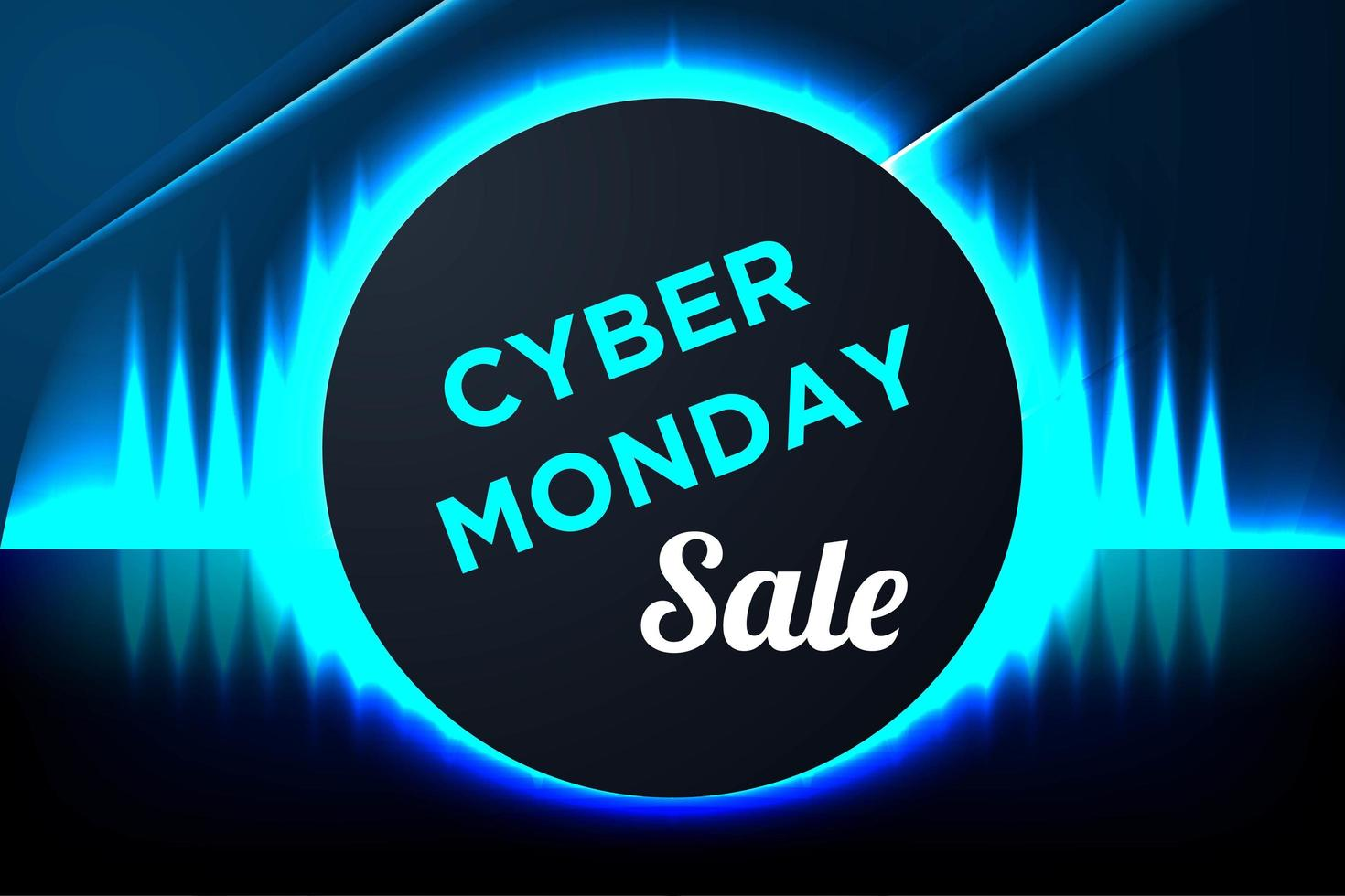Blue Glowing Cyber Monday Banner with Circle Frame vector