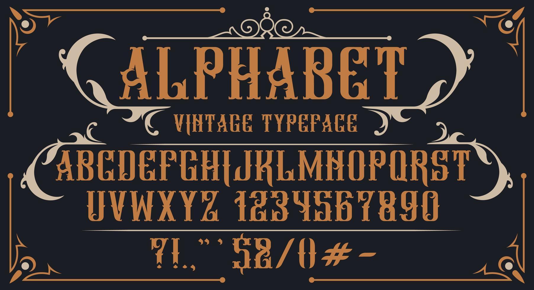alfabeto vintage decorativo vector