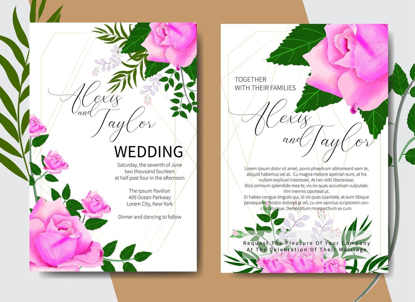 Tarjeta de invitación de boda acuarela con rosas en las esquinas vector