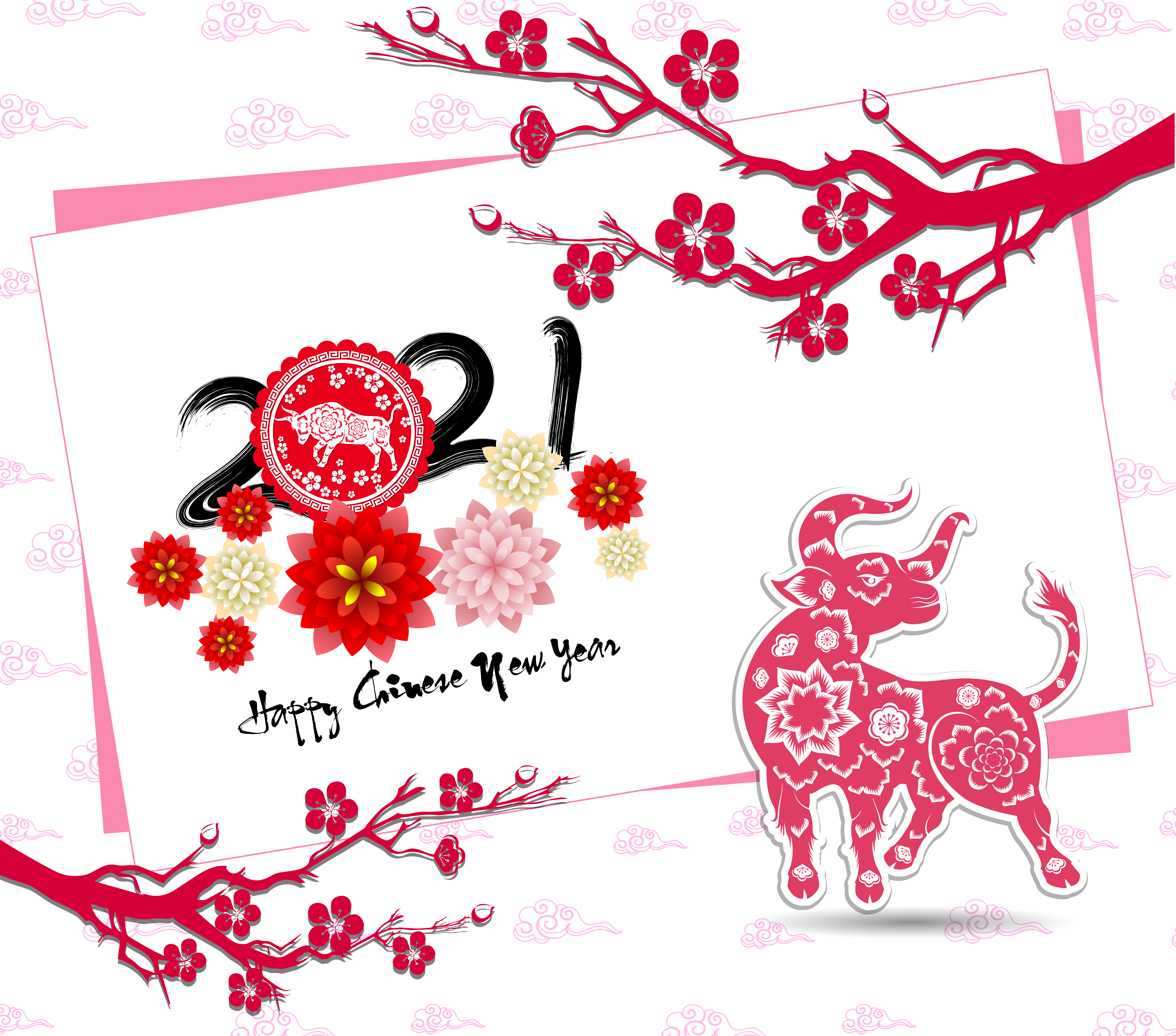 Chinese new year 2021 Tilted Card with Ox and Branches ...
