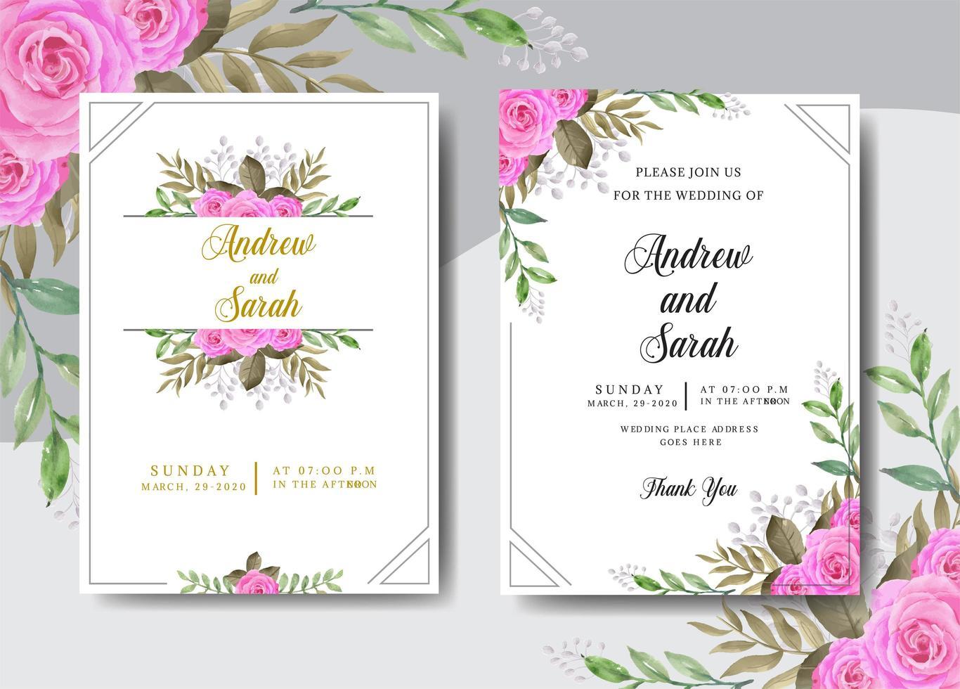 invitación de boda acuarela con marco vector