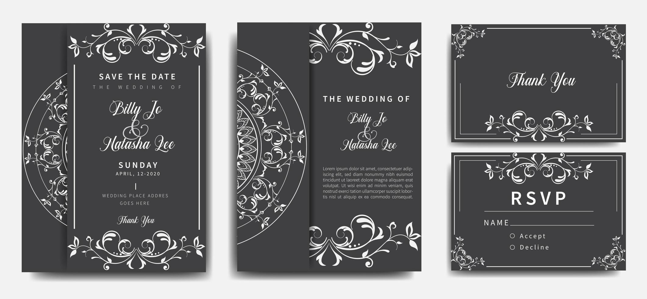 Gray and White Mandala Wedding Invitation Set vector