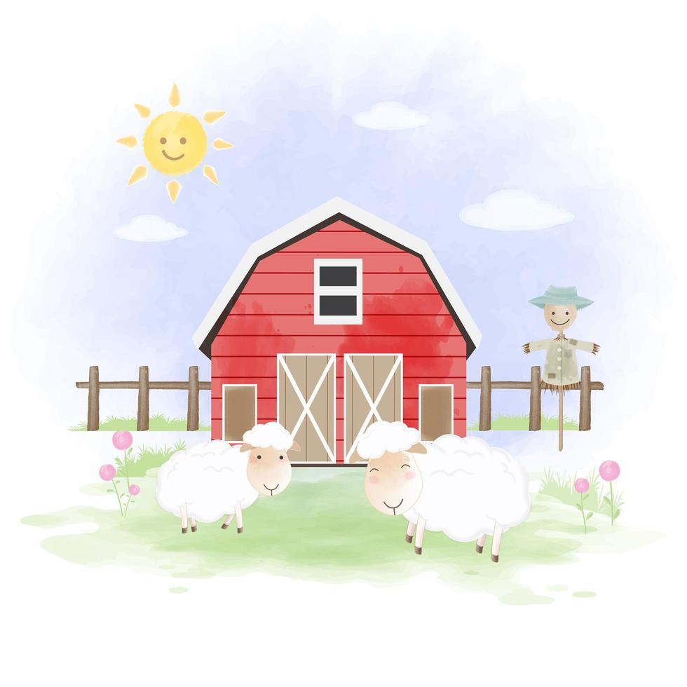 Ovejas y granero dibujado a mano ilustración vector