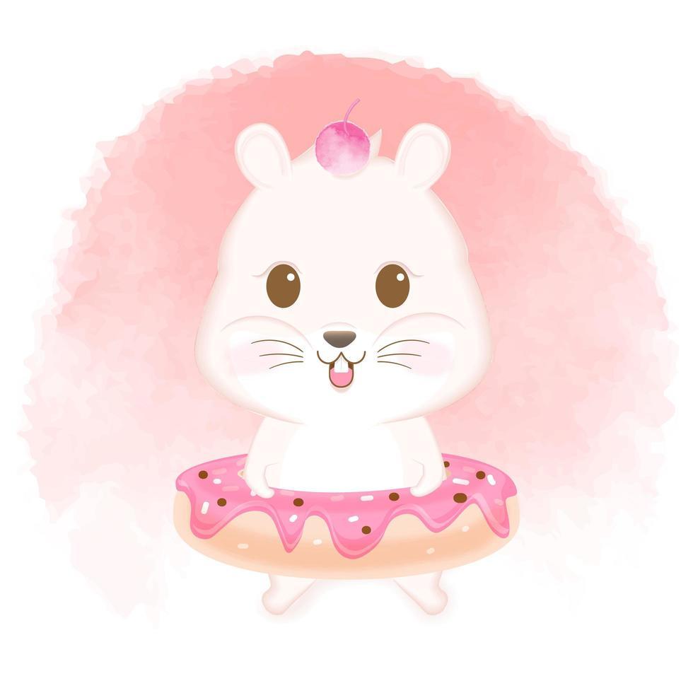 Hamster Wearing Donut Hand Drawn Illustration