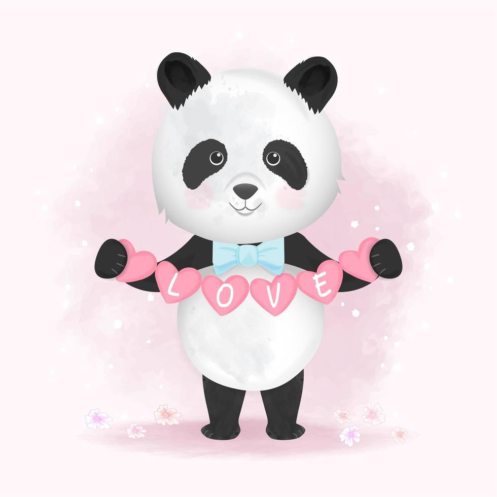 Hand Drawn Panda Holding Hearts with Love Text