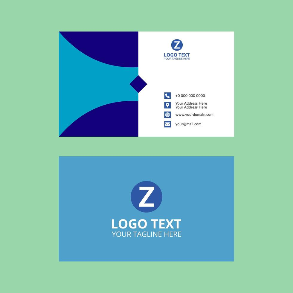 Blue Business Card with Diamond and Curved Design