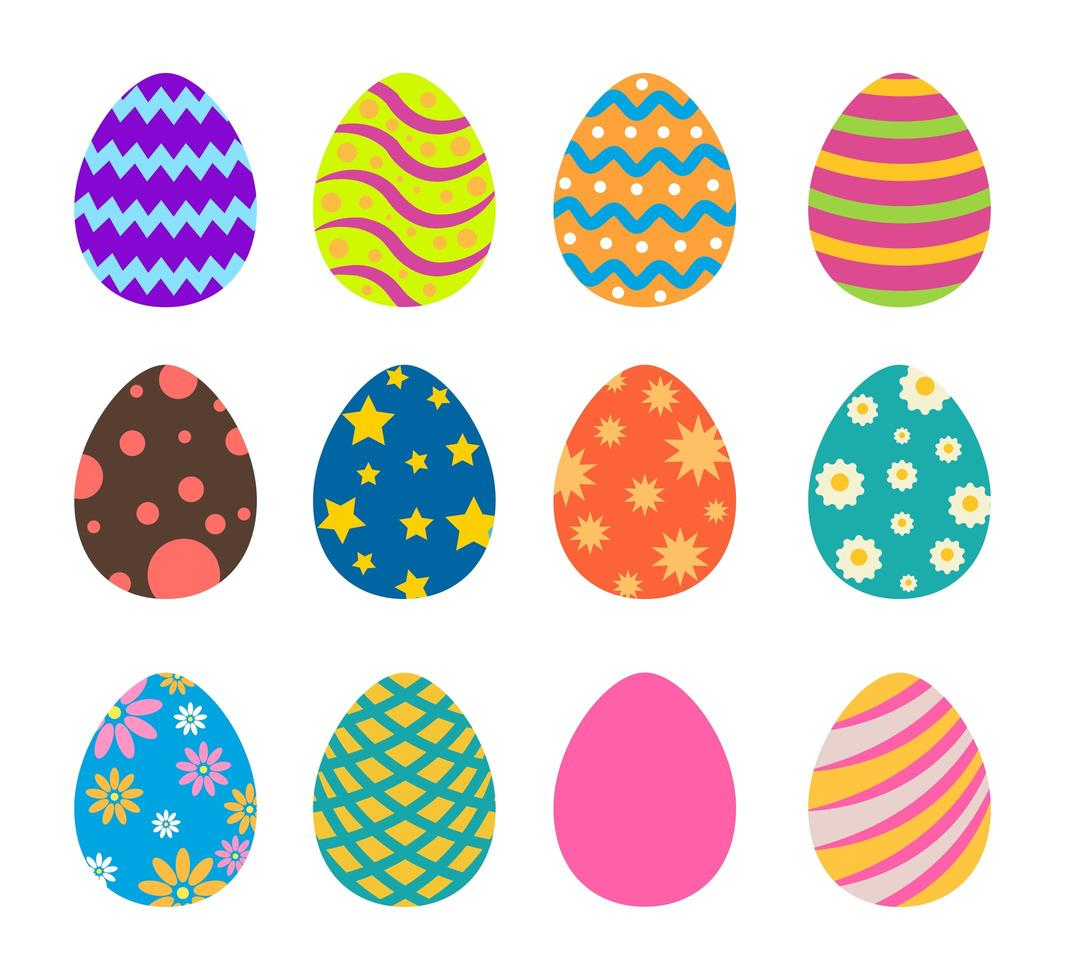 Collection of Colorful Patterned Easter Eggs
