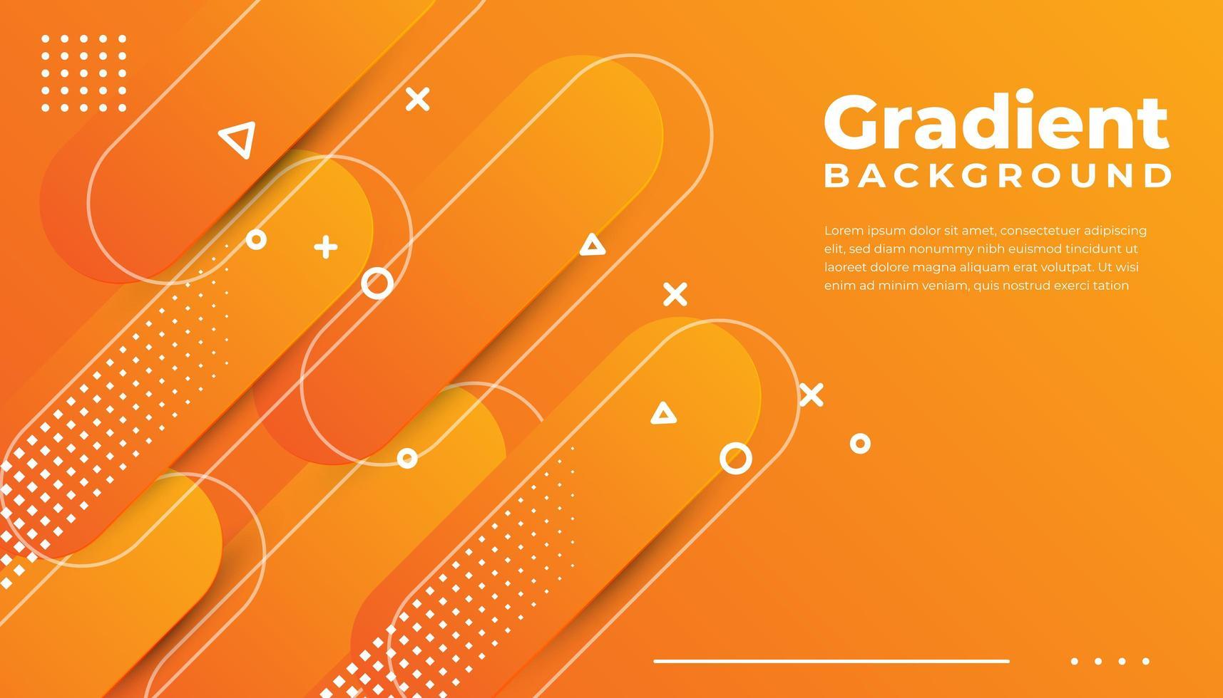 Orange Rounded Geometric Shapes Background