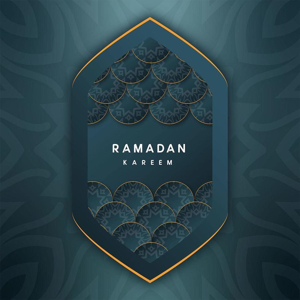 Ramadan Kareem Islamic Greetings in Geometric Almond Shape