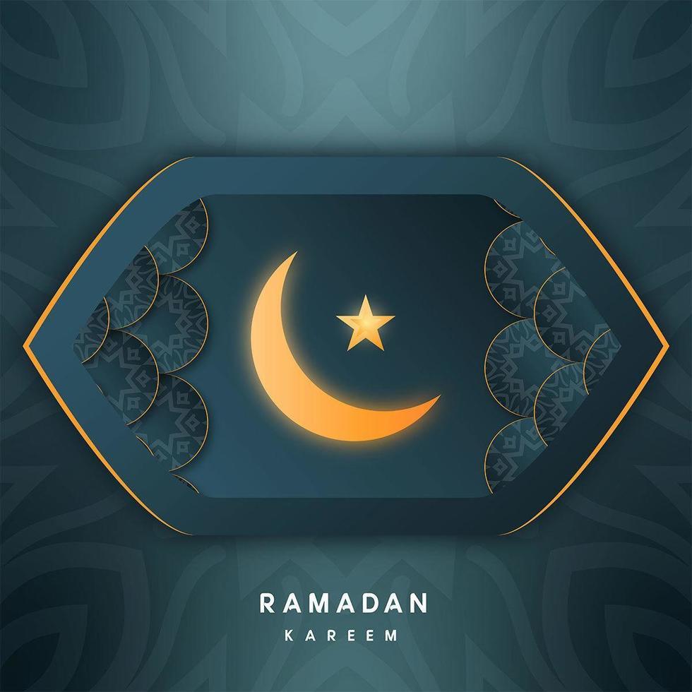 Ramadan Mubarak Greetings in Geometric Almond Shape