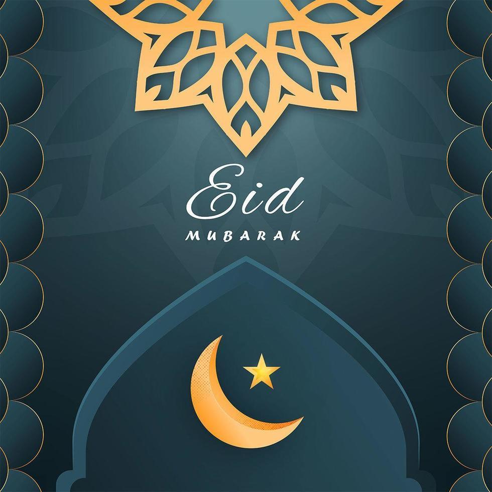Eid Mubarak Moon and Star in Moqsue