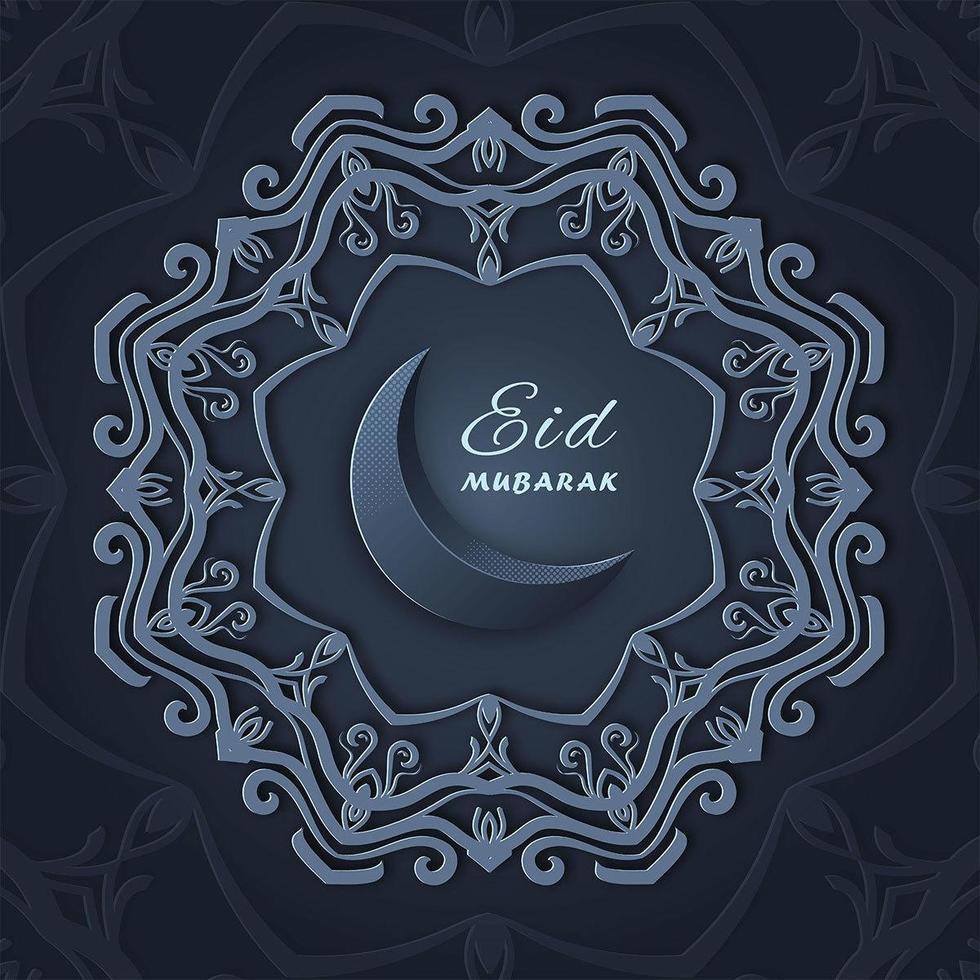 salutations ad mubarak avec la conception d'étoiles de mandala ornementales vecteur