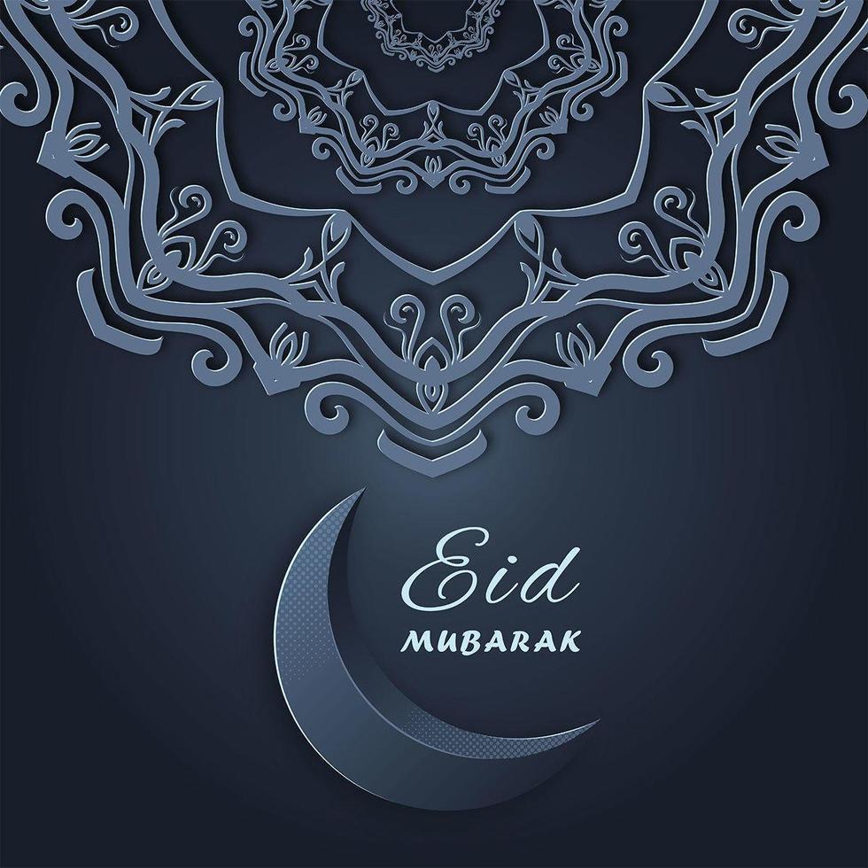 Eid Mubarak Greetings Under Ornamental Mandala Star