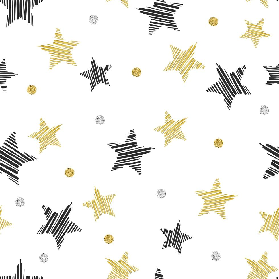 Black and Gold Glitter Star Pattern