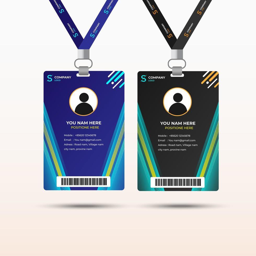Blue and Green Diagonal Design Staff Card Set
