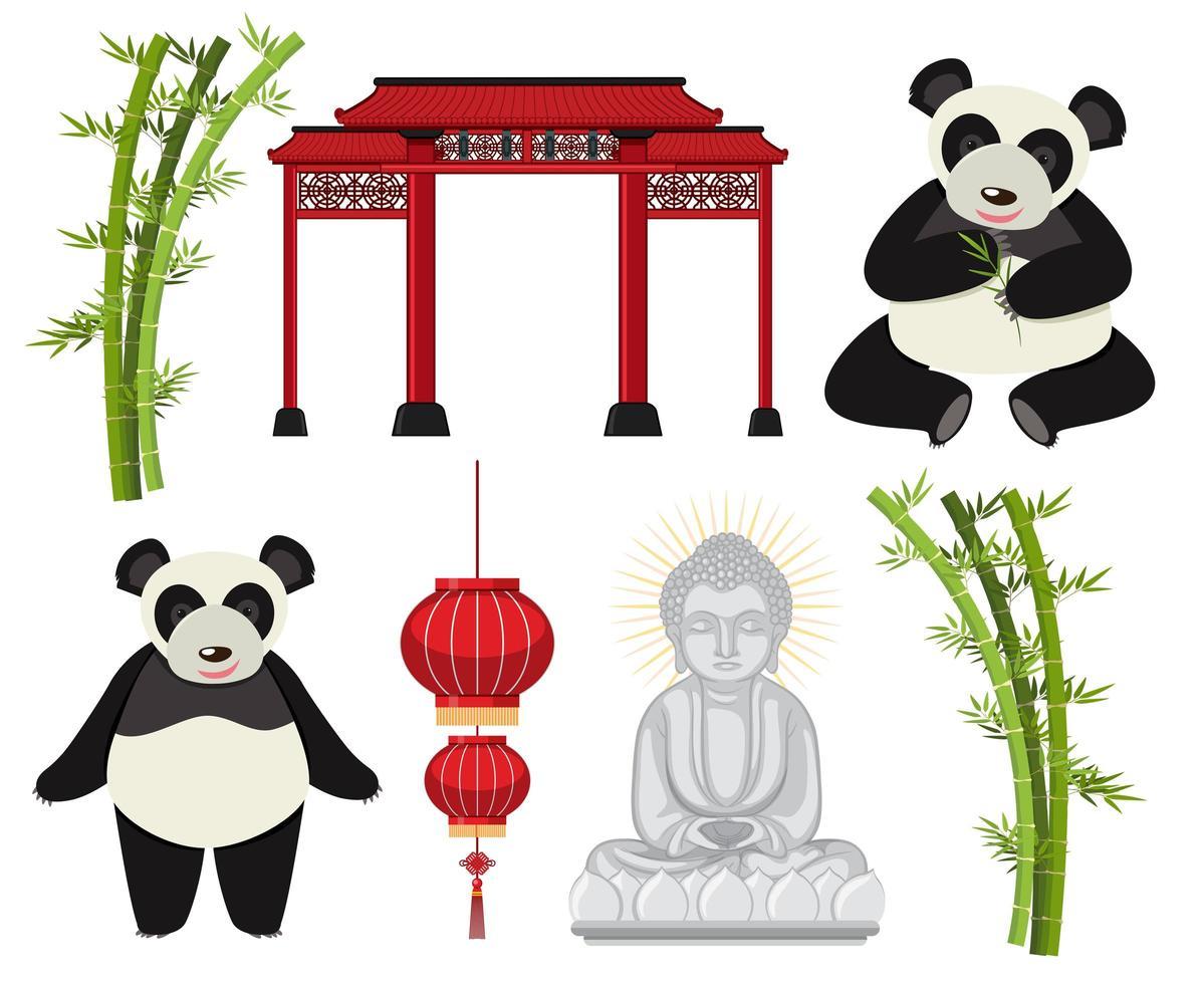 A set of Asian elements vector
