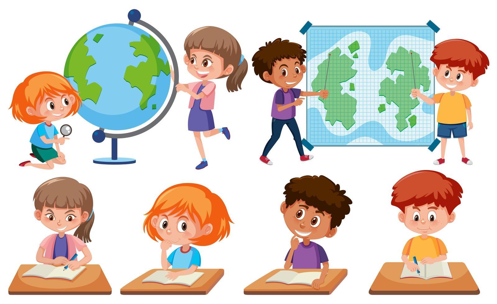 bambini con strumenti di apprendimento vettore
