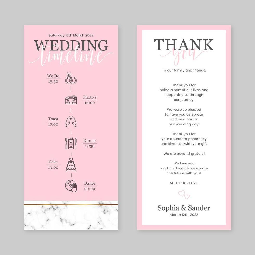 vertikale Vorlage der Hochzeitszeitleiste vektor