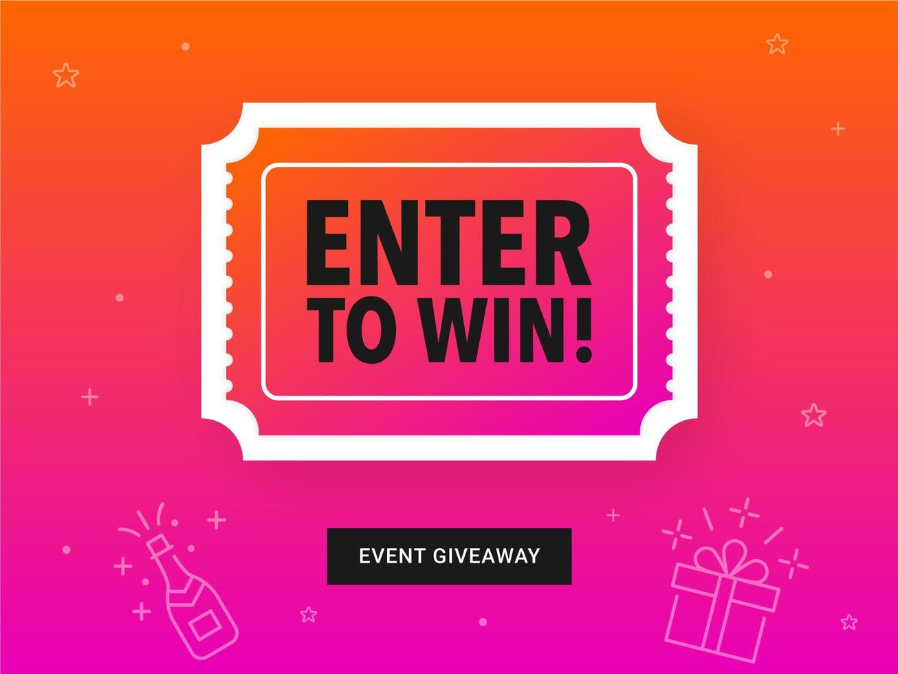 Colorful Enter To Win Ticket Banner vector