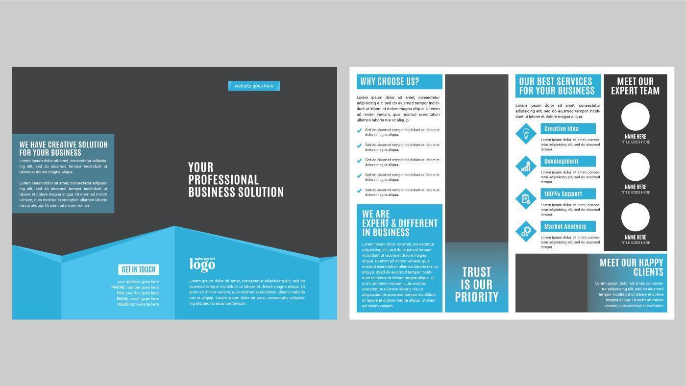 Blue Corporate Leaflet Template vector