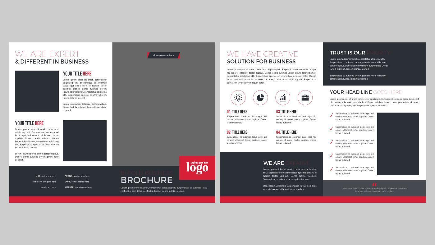 Modern Red and Gray Brochure Pages Design vector